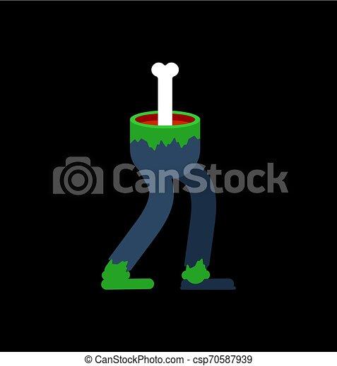 zombie, isolated., morto, piedi, vettore, verde, illustrazione, gambe, man. - csp70587939