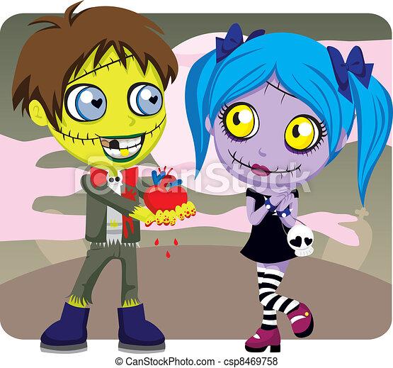 zombie, kärlek, kuslig - csp8469758