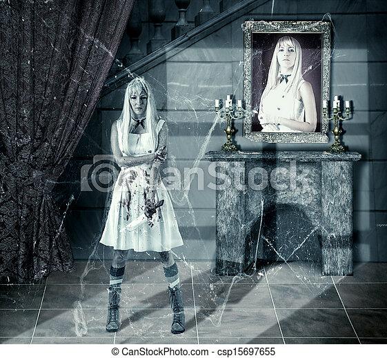 zombie, mulher, jovem, faca, sangue - csp15697655