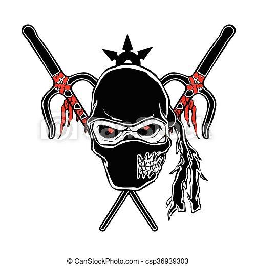 Zombie ninja cartone animato faccia illustrazione faccia