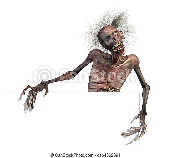 Zombie on Blank Sign Edge - csp4562691