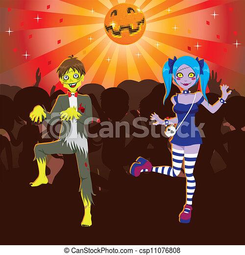 zombie, partido, dia das bruxas, discoteca - csp11076808