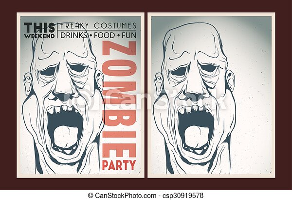 Zombie Face Line Drawing : Zombie party placard set. vector poster.