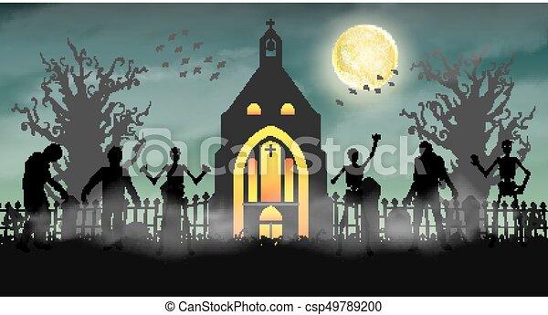 Halloween Chiesa.Zombie Pauroso Halloween Cimitero Chiesa