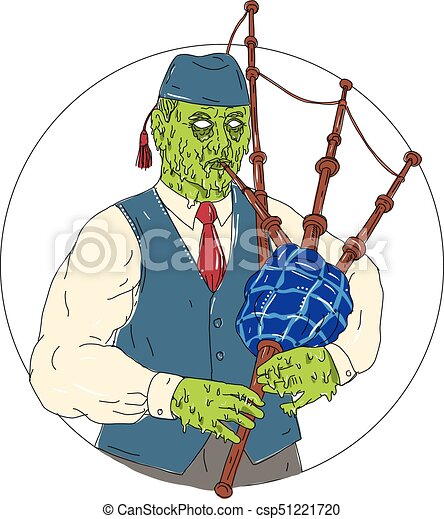 zombie piper playing bagpipes grime art grime art style vector rh canstockphoto com bagpipe clip art free animated bagpipes clipart