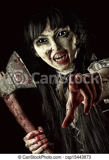 zombie, sangrento, femininas, machado - csp15443873
