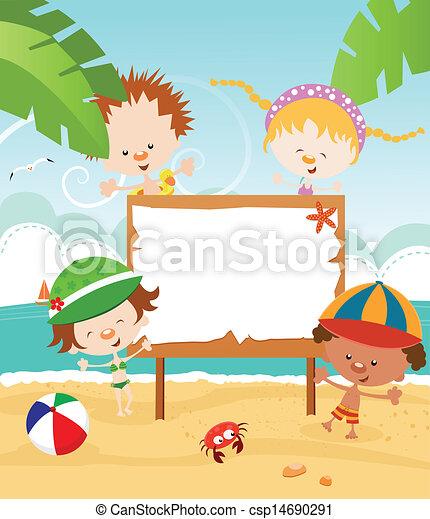 zomer, boodschap, kids' - csp14690291