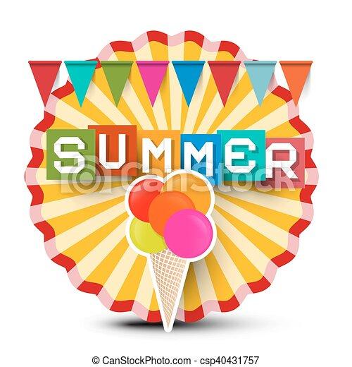 zomer, cream., kleurrijke, titel, ouderwetse , sticker, ijs, retro, label., sinaasappel, vlaggen, cirkel - csp40431757