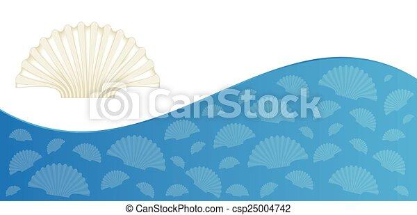 zomer, flyer, ontwerp, zee schalen - csp25004742