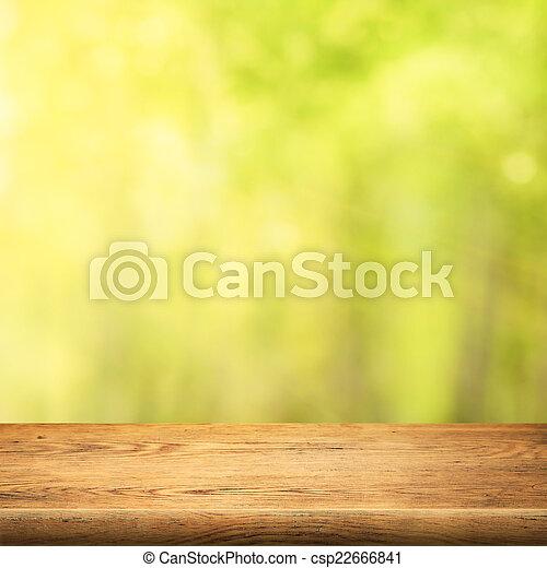 zomer, hout, groen bos, achtergrond, tafel - csp22666841