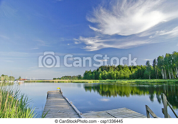 zomer, levendig, hemel, meer, kalm, onder - csp1336445