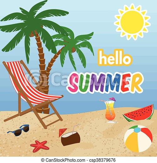 zomer, ontwerp, hallo, poster - csp38379676