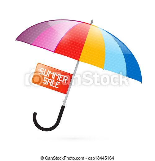 zomer, paraplu, kleurrijke, titel, verkoop, illustratie - csp18445164