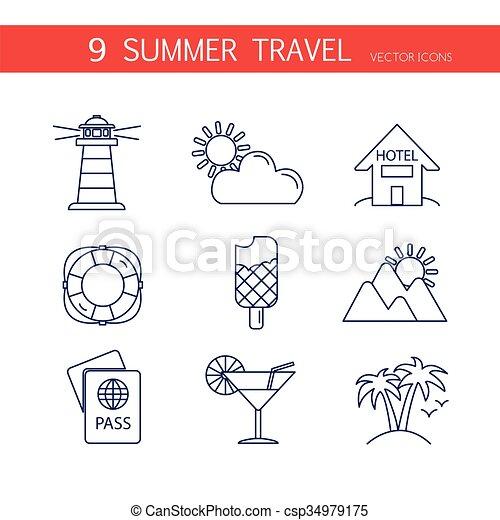 zomer, reizen, set, vector., iconen - csp34979175