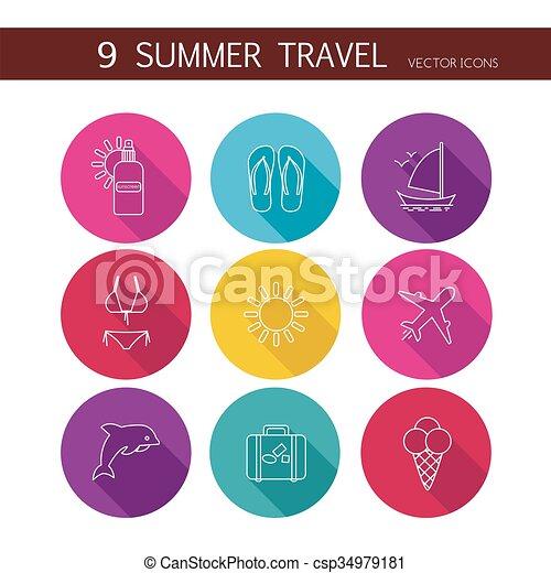 zomer, reizen, set, vector., iconen - csp34979181