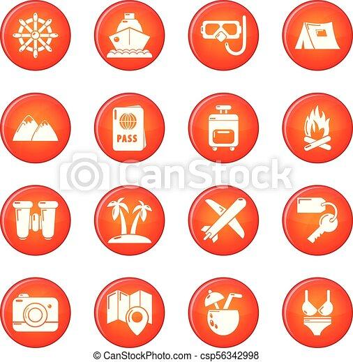 zomer, set, iconen, reizen, vector, rood - csp56342998