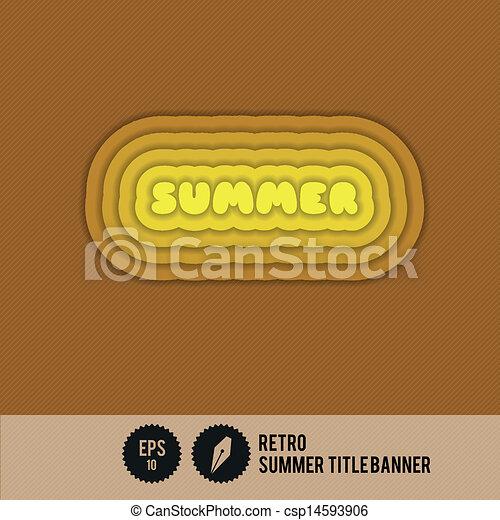 zomer, spandoek, retro, titel - csp14593906