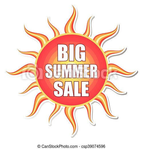 zomer, vecto, zon, verkoop, etiket, groot - csp39074596