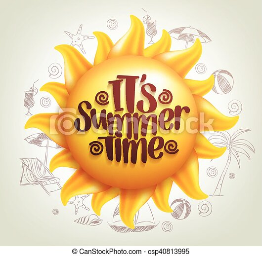zomer, zon, vector, tijd, titel - csp40813995