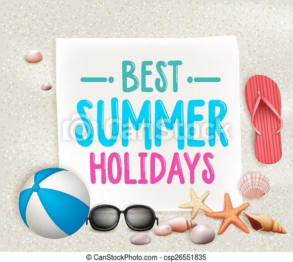 zomervakantie, best, kleurrijke, titel - csp26551835