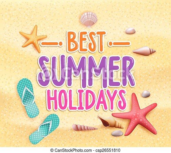 zomervakantie, best, kleurrijke, titel - csp26551810
