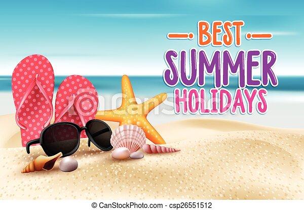 zomervakantie, best, woorden, titel - csp26551512