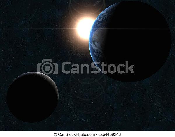 zon, aarde, maan - csp4459248