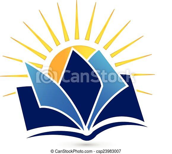 zon, boek, logo - csp23983007