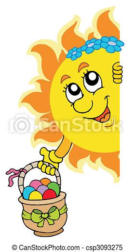 zon, eitjes, pasen, zich het verschuilen - csp3093275