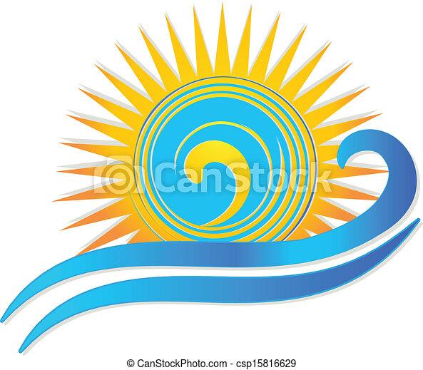 zon, golven, logo - csp15816629