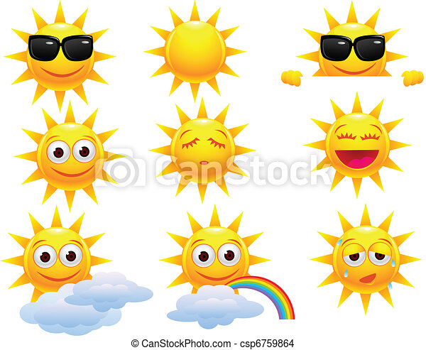 zon, karakter, spotprent - csp6759864
