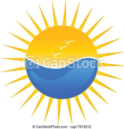 zon, strand, illustratie, logo - csp17619212