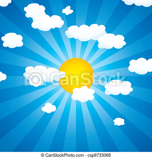 zon, vector, wolken, hemel - csp9733068