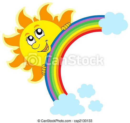 zon, zich het verschuilen, regenboog - csp2130133