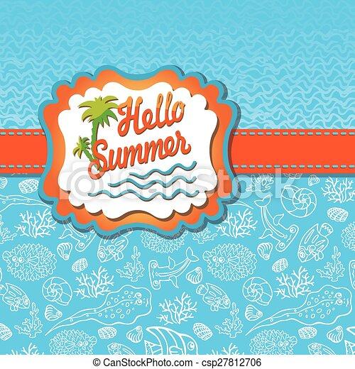 zon, zomer, etiket, zee, template., ontwerp, leven, gekke , golf - csp27812706