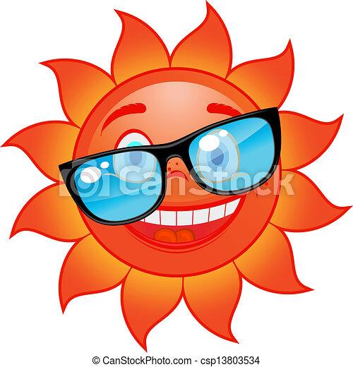 zon, zonnebrillen, vrolijke  - csp13803534