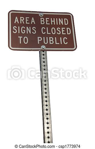 zona, segno, dietro, segni closed, pubblico - csp1773974