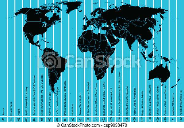 zones, planisphère, temps - csp9038470