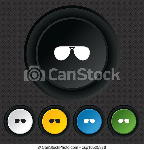 zonnebrillen, glasses., meldingsbord, icon., vliegenier, piloot - csp18525378
