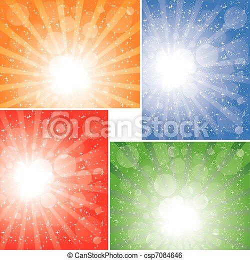 zonnestraal, achtergronden, verzameling - csp7084646