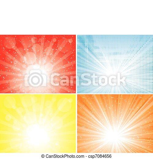 zonnestraal, achtergronden, verzameling - csp7084656