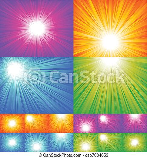 zonnestraal, achtergronden, verzameling - csp7084653
