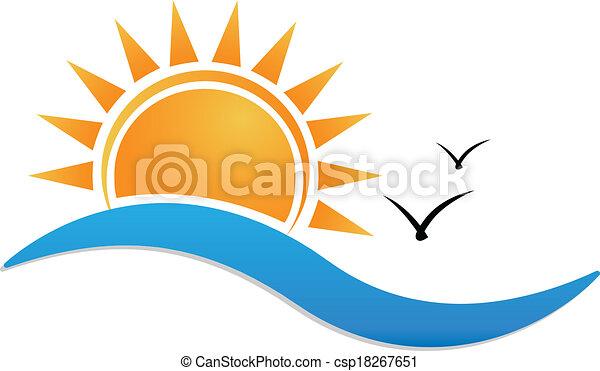zonsondergang strand, logo - csp18267651
