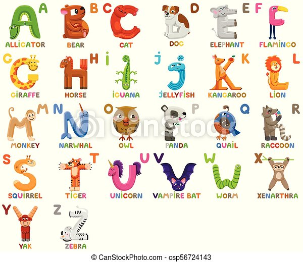 Zoo Alphabet Animal Alphabet Letters From A To Z