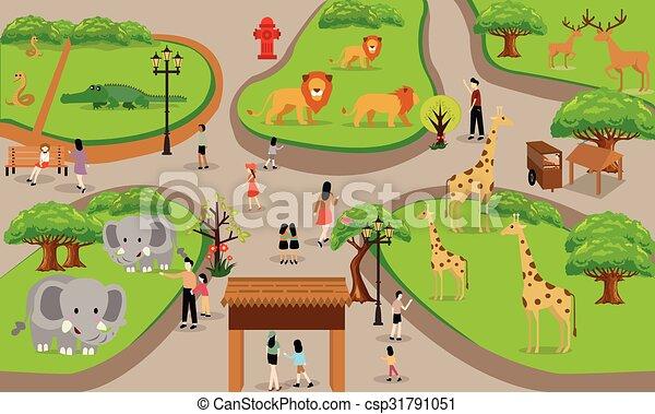 Zoo Cartoon People Family With Animals Scene Vector Illustration