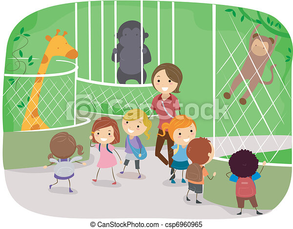 illustration of kids observing animals in a zoo rh canstockphoto com zoo pictures clip art zoo clipart png