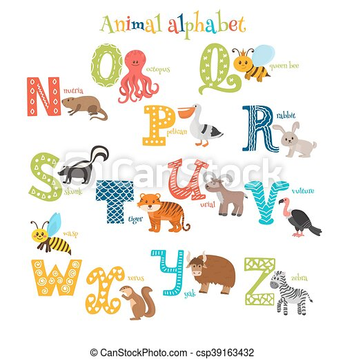 Image of: Letter Cute Cartoon Animals Alphabet From To In Cartoon Style Csp39163432 Can Stock Photo Zoo Cute Cartoon Animals Alphabet From To In Cartoon Style