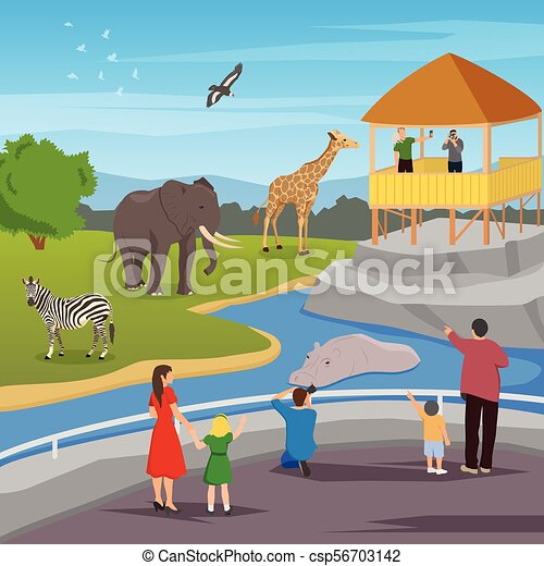 Zoo flat cartoon composition. Zoo flat colored composition with ...