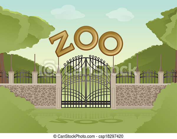 zoo vector image of cartoon zoological garden background
