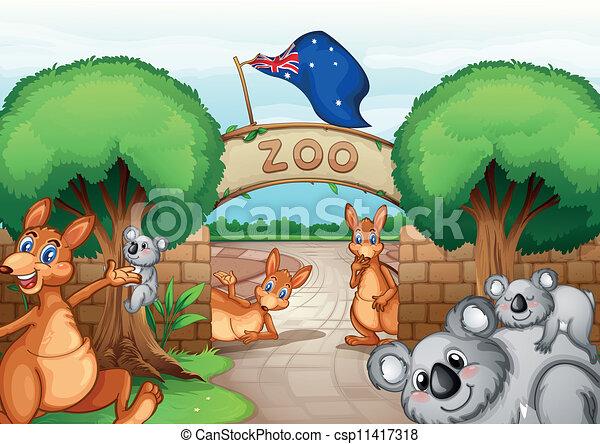 zoo scene illustration of a zoo scene